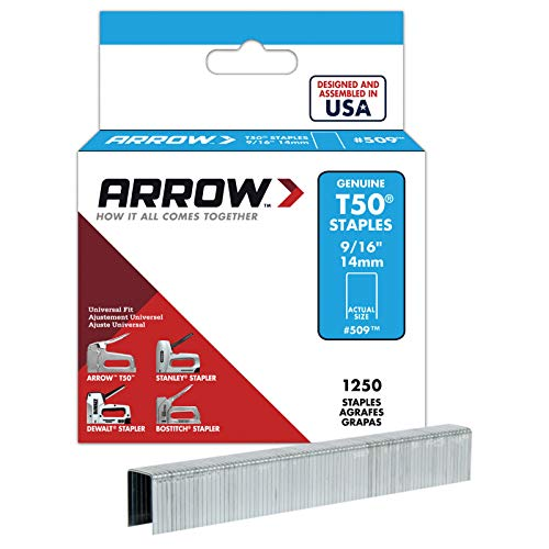 Arrow Fastener 509 Genuine T50 9/16-Inch Staples, 1,250-Pack from Arrow Fastener
