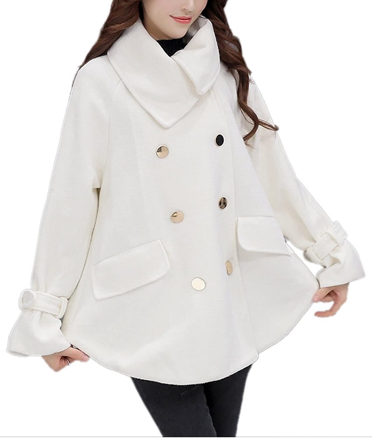 Lingswallow Women's Winter Hooded Double Breasted Wool Trench Coat Jacket White