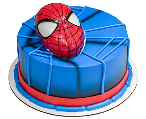Spiderman Head Cake Topper with Light Up Eyes & 12 Cupcake Rings, DecoPac, Marvel. by DecoPac