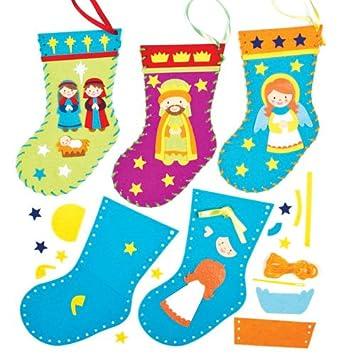Baker Ross Kits de Costura de Calcetines de Navidad con Imágenes del Belén Manualidades Creativas para Niños Perfectas para Crear Decoraciones y Adornos ...