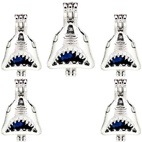 (5 Pack) Silver Alloy Ocean Jaws Animal Beads Cage Locket Pendant K1016