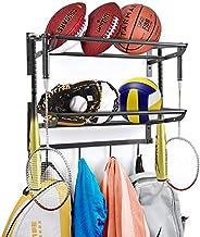 Sports Equipment Storage Rack Garage Ball Storage Rack Wall Mount Sports Organizer with Hooks Basketball Footb