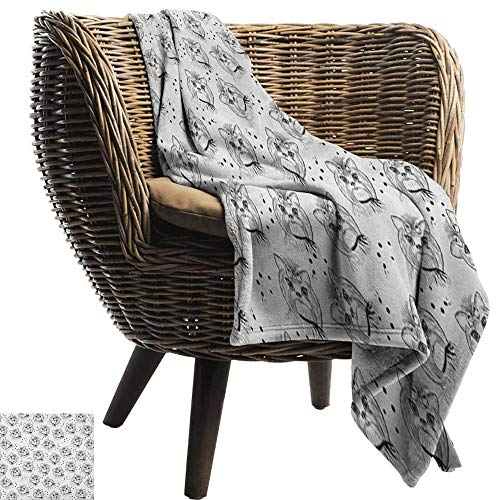 "warmfamily Reversible Blanket Black and White Cute Dog Pattern with Buckle and Collar Monochrome House Pet Illustration Bedroom Warm 36"" Wx60 L"