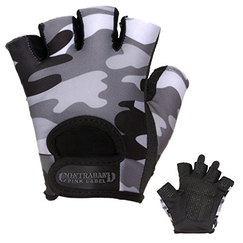 (Contraband Pink Label 5217 Womens Design Series Camo Print Lifting Gloves (Pair) - Lightweight Vegan Medium Padded Microfiber Amara Leather w/Griplock Silicone (Gray, Small))