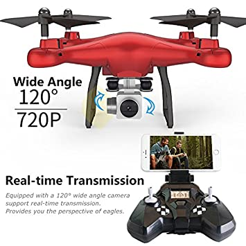 Unmanned Aerial Vehicle (UAV) Unmanned Quadcopter with 2MP Wide-Angle WiFi Real-time Transmission Camera, Quadcopter Battery, Remote Control and Charging Cable (Black) Wal front