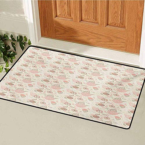 (GUUVOR Vintage Universal Door mat Pastel Colored Bird Butterfly and Flower Outlines with Ornamental Swirls Door mat Floor Decoration W19.7 x L31.5 Inch Rose Sepia Beige )