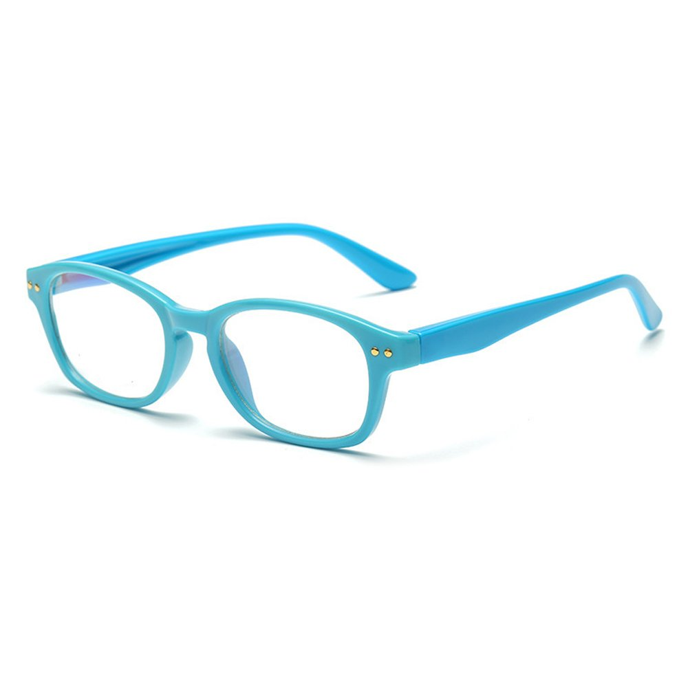 Fantia Kids Eyeglass Frame Children Soft Non-Optical Frames Clear Lens (Blue)