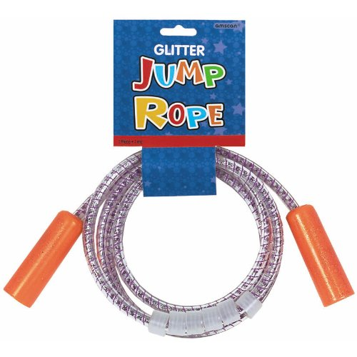 Fun Filled Summer Glitter Jump Rope Party Activity, Red/Purple, Plastic , 11'' x 12''