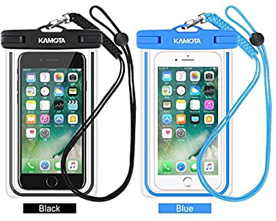 Waterproof Case, 2 PACK Glow in the Dark IPX8 Universal Waterproof Phone Pouch Cases Dry Bag with Military Lanyard for iPhone Samsung Google Pixel HTC LG Huawei (Blue Black)
