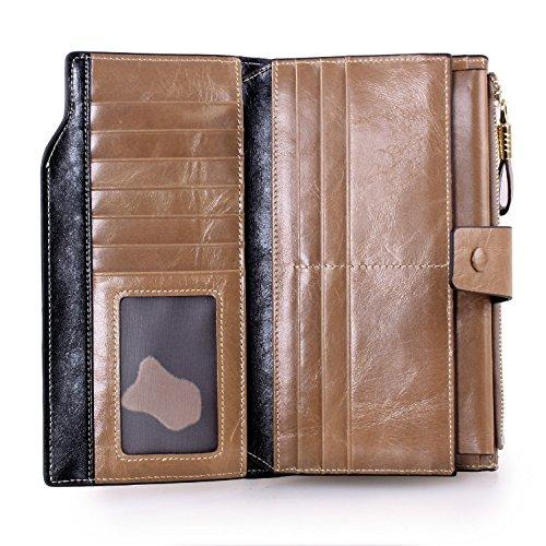 Grebago Women's Genuine Leather Wallet Long Zipper Clutch Wallets Purse Case clip Handbag Cracker Khaki