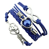 Feitengtd Infinity Love Heart Pearl Friendship Antique Leather Charm Bracelet for Valentine's Day (Blue)