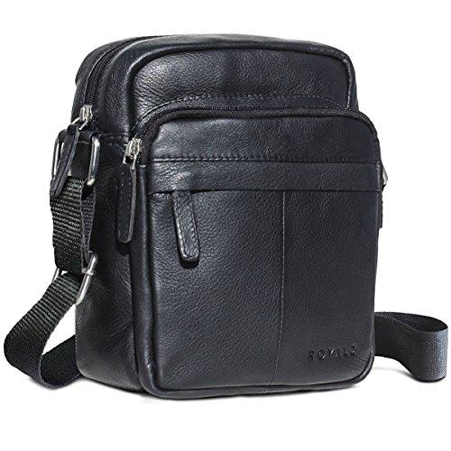 ROYALZ Bolso para hombres de cuero en negro de diseño compacto mensajero-bolsa, Color Negro Negro
