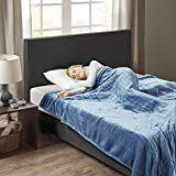 Woolrich Ultra Soft Knitted Plush Reverse to Sherpa Auto Shut Off Electric Blanket with Two 20 Heat Level Setting Controllers, King: 100x90', Sapphire
