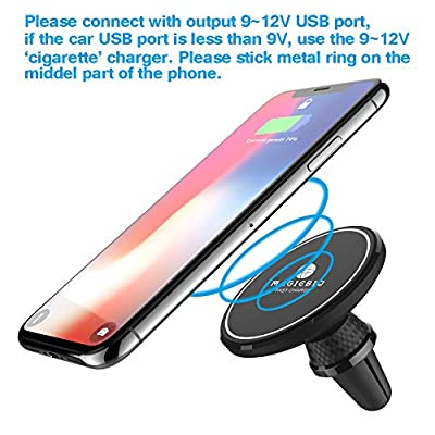 MagicBiu 10W Fast Magnetic Wireless Charger, Car Charging Mount, Air Vent Phone Holder, 7.5W Compatible for iPhone Xs/XS Max/XR/X/8/8 Plus,10W Compatible Galaxy S9/S9+/S8/S8+/Note 8, QI Certified: Home Audio & Theater