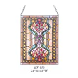 HF-180 Tiffany Style Stained Glass Funny Clown Rectangular Window Hanging Glass Panel Sun Catcher, 24''x18''