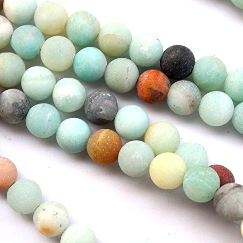 Natural Unpolished Frosted Amazonite Round 6mm with 2mm Hole Fit Leather Cord for Gemstone Jewelry Making Beads