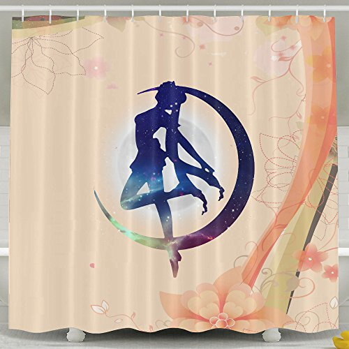 (Memoy Sailor Makeup Moon Mildew Resistant Bathroom Shower Curtain For Home Traval Hotel With Hooks)