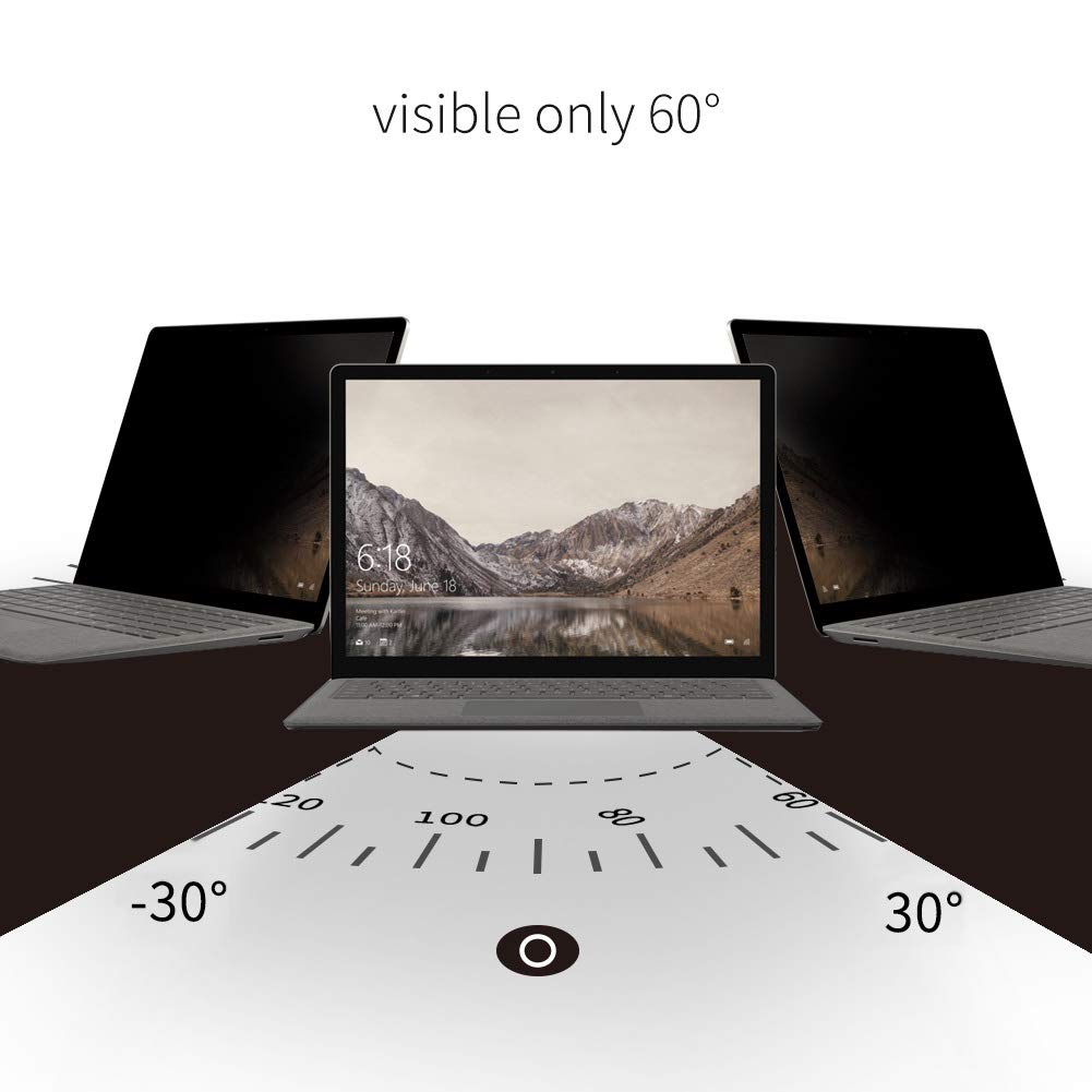 Anti-Spy Filter Microsoft Surface Laptop 2 Privacy Screen Protector,YBP Upgrade Design Anti-Glare Feature Makes Easy On//Off Removable Screen Filter for Surface Laptop 1//2 //3 13.5 inch.