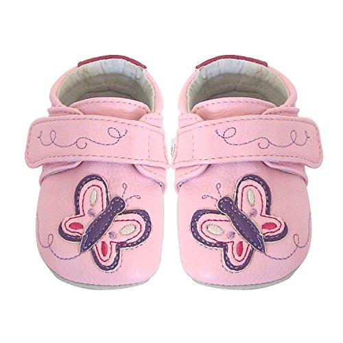 Jack & Lily My Mocs Butterfly Pink - Zapatitos de piel 100% para los primeros pasos, talla 0-6 meses, multicolor