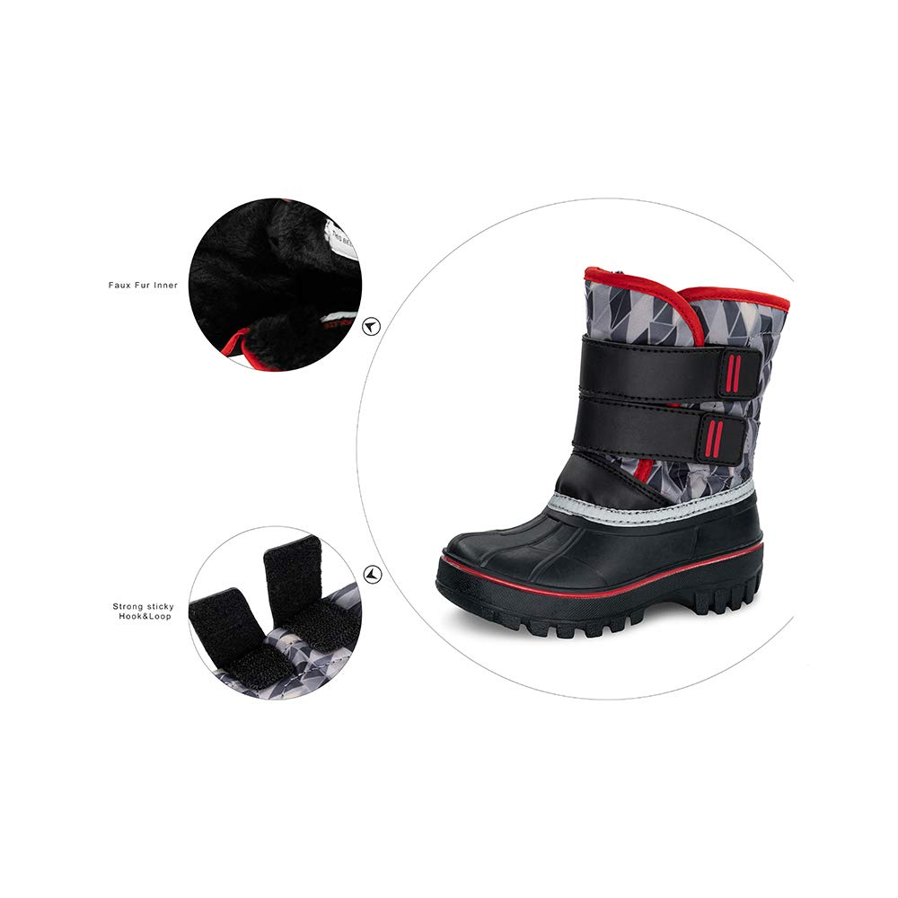 mid Calf Anti-Skid Warm Snow Boots for Kids//Girls TF STAR Girls Boys Toddler Ankle Outdoor Waterproof Winter Snow Boots