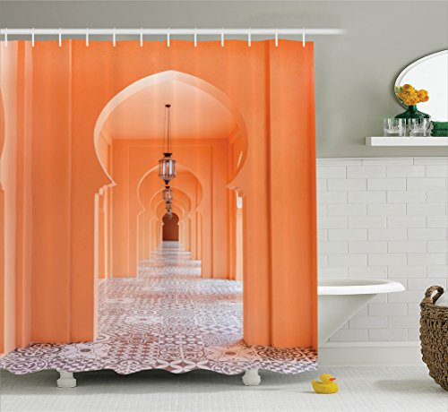 Arabian Shower Curtain by Ambesonne, Moroccan Walkway with Asian Motifs and Arabic Artsy Elements Visual Oriental Photo, Fabric Bathroom Decor Set with Hooks, 70 Inches, Salmon