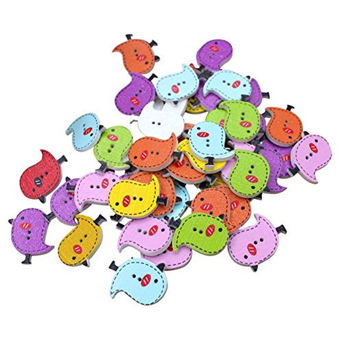 50PCS Kanggest Mixed Random Colorful Bird Painted Buttons Round 2 Holes Wood Wooden Buttons for Sewing Crafting – The Super Cheap