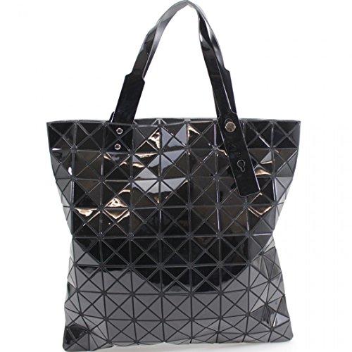 Elegant Fashions Women Fashion PU Tote Bags Shoulder Bags Top Handle Bags Prism Style Lightweight Flexible Tote Bag/Hobo/Top-handle Handbag Black