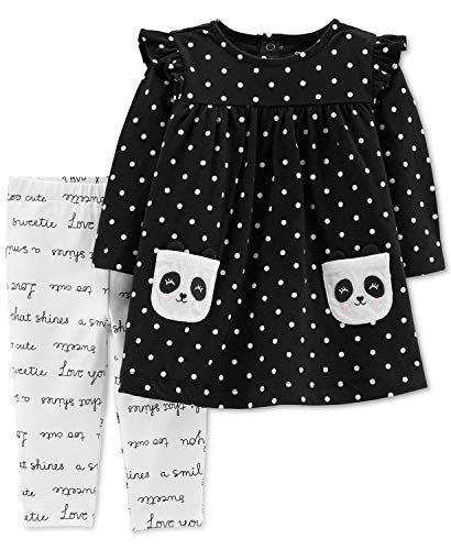 Carter's Baby Girls' 2-Piece Panda Dress Top and Slogan Legging Pants (3 - Piece 3 Leggings Embroidered