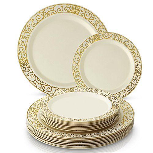 (PARTY DISPOSABLE 40 PC DINNERWARE SET | 20 Dinner Plates | 20 Salad/Dessert plates | Heavy Duty Plastic Dishes | Elegant Fine China Look | Upscale Wedding and Dining (Venetian Collection– Ivory/Gold))