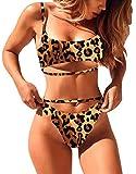 ALLureLove Women's Sexy Scoop Neck Cutout Strappy High Waist Thong 2PCS Bikini Sets Swimsuit(A-Leopard,L)
