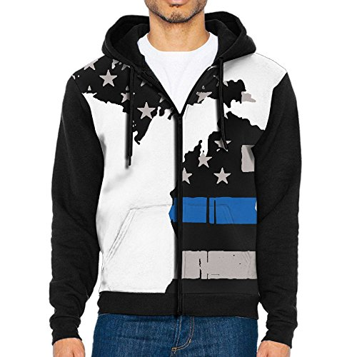 Michigan State Thin Blue Line Casual Gentleman Hoodies Zipper Pullover Sweatshirt With Kangaroo Pocket Clothing