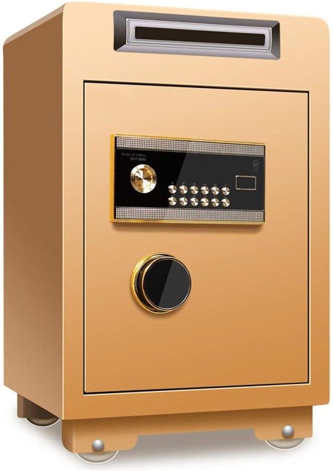 電子金庫 小型 家庭用 店舗用 コイン式のセキュリティ指紋盗難防止キャビネット高さ60cmオフィスホームスーパーマーケットのレジ全鋼構造耐火 金庫 家庭用 小型 テンキー式 (色 : Gold1, Size : 60x40x36cm)