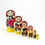 Russian Nesting Dolls, 6 Traditional Matryoshka Classic Semyonov Red Style | Babushka Wooden Doll Gift Toys, Hand Made in Russia | Semyonov Red, 6 Piece, 13 cm (5 inches)