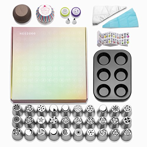 NEEDEED Russian Piping Tips Set (258 pcs), Icing Tips Russian Tips Baking Supplies Set, 32 Icing Nozzles Extra Large Cake Cupcake Decorating supplies. (Kid Friendly Halloween Baking)