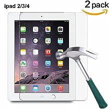 TANTEK HD-Clear, Anti-Scratch, Anti-Glare, Anti-Fingerprint, Tempered Glass Screen Protector for iPad 2/iPad 3/iPad 4, 2 Piece