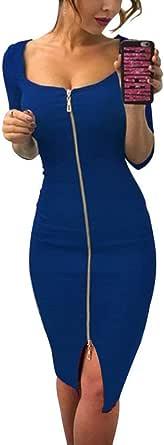 Tomwell Mujer Bodycon Vestido Slim Fit Media Manga Delante Cremallera Rodilla Alta Vestidos