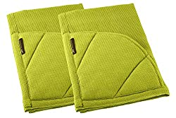 Rachael Ray Kitchen Towel And Oven Glove Moppine A 2 In 1 Ultra Absorbent Kitchen Towel With Heat Resistant Pot Holder Padded Pockets To Handle Hot Cookware And Bakeware Celery Green Pack Of 2