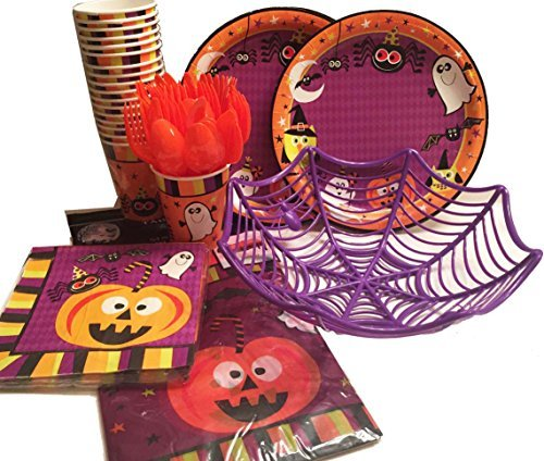 Halloween Pumpkin Theme Party Supplies Bundle 2016- (104 pcs)- Hallowe'en Plates Napkins Cups Tablecloth Bowl and Utensils - Jack O Lantern and Ghosts Dinnerware (Halloween Stores Spirit)
