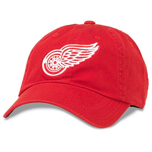 American Needle Blue Line NHL Team Dad Hat, Detroit Red Wings, Red - Great Red American Detroit Wings