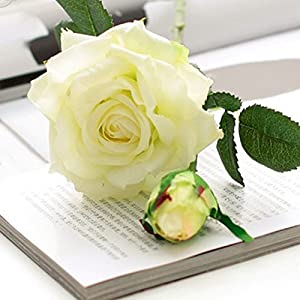 LBZEZR Artificial Flowers Real Touch Silk Rose Home decorations Floral Decor White 91