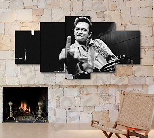 5 Piece Famous People Mafia Drug Dealers Poster Canvas Print Art Decor Wall Like Painting Look (5 Piece Medium, Johnny Cash Finger Music Famous)