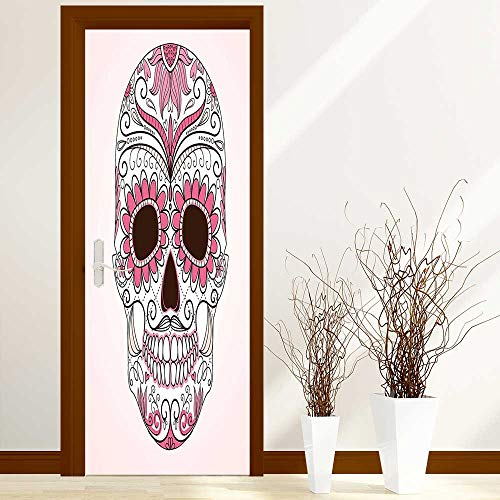 - Door Sticker Wall Murals Decals Decor Mexican Ornaments Calavera Catrina Inspired Folk Art Macabre Pink Light Pink White for Home Bedroom Decor W38.5 x H77 inch