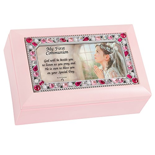 (Cottage Garden First Communion Girl Petite Pink Jeweled Music Box Plays Jesus Loves Me)