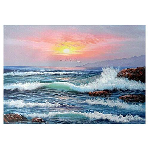 VKTECH Sea Ocean Wave 5D DIY Diamond Painting Kit Full Drill Mosaic Cross Stitch Round Rhinestones Dotz Embroidery Art Craft Home Wall Decor 15.75