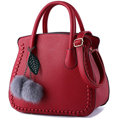 à Sac Filles a Mode L004eu main vin Sac Cuir en PU Simple Femme Rouge Violet Sacs d'épaule main Pour wBYB6rqg