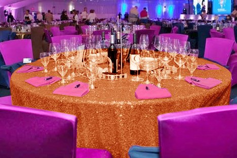 ShinyBeauty Sequin Tablecloth-Coral-132Inch Round, Glitz Sequin Table Cloth,Sparkly Reception Wedding Overlay ()