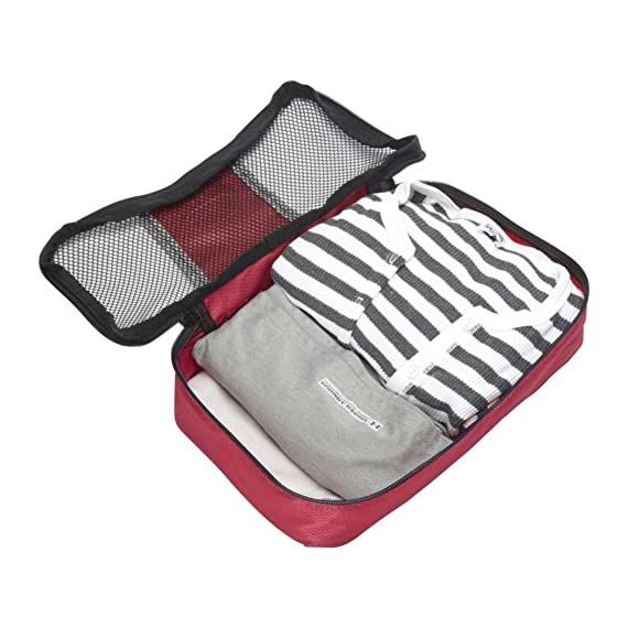 "eBags Small Classic Packing Cubes for Travel - Organizers - 3pc Set 5 INCLUDES 3 Small PACKING CUBES: Dimensions are 11"" x 6.75"" x 3""; great for packing tanks, undergarments, diapers, etc. SUPERIOR QUALITY: Highest construction standards utilized, making it a customer-favorite, packing cube of choice. Includes premium self-healing zippers with corded pulls for a lifetime of opening and closing. DURABLE & CONVENIENT: Interior seams fully finished for durability and soft mesh tops won't damage delicate fabrics or dress clothes. Mesh allows for easy identification - no more digging around!"