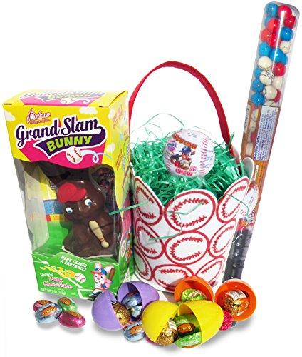 Grand Slam Chocolate Cadbury Easter Bunny Basket with Reese's Peanut Buttercup Eggs, Caramel Cadbury Eggs, and 18
