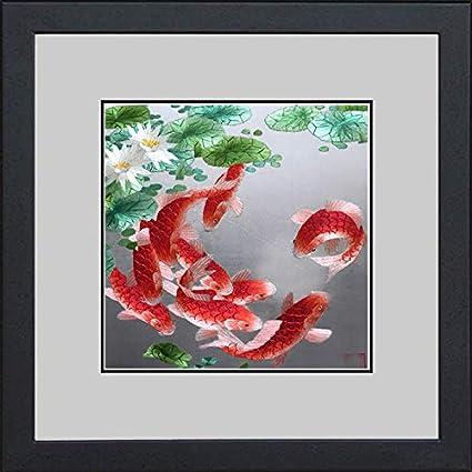 Amazon Com King Silk Art Handmade Embroidery Nine Red Japanese Koi