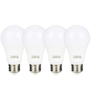 A19 Dusk to Dawn Light Sensor LED Bulb, 7W 60W Equivalent, E26 2700K, 600 Lumens, Auto On/Off, Indoor Outdoor Lighting Lamp for Porch, Garage, 4 Pack